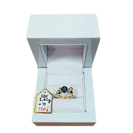 Złoty pierścionek złoto 585 niebieskie oczko granatowy