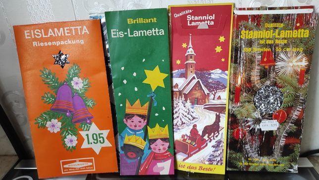 Дождик новогодний на елку, ГДР, фольга, серебристый, серпантин СССР