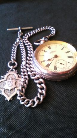 Zegarek kieszonkowy srebra-srebro Antyk S. CHILD LONDON i Dewizka
