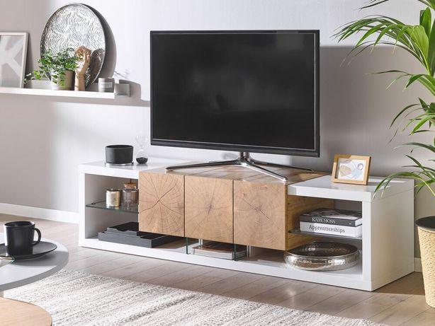 Móvel de TV branco e castanho claro FULLERTON - Beliani