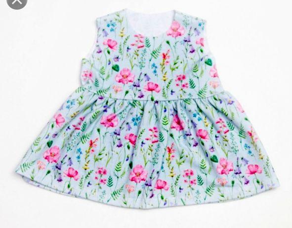 Sukienka na wiosnę lato bawelniana dla księżniczki r. 62/68 kwiaty