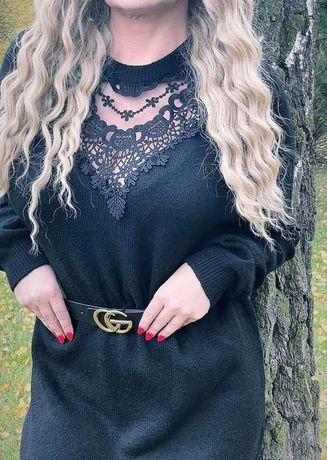 Sweterek tunika sukienka z koronką