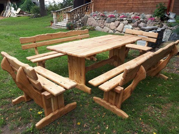 Dębowe Meble Ogrodowe Impregnowane Rzeźbione Stół + 4 Ławki