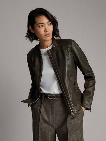 Женская кожаная куртка  Massimo dutti