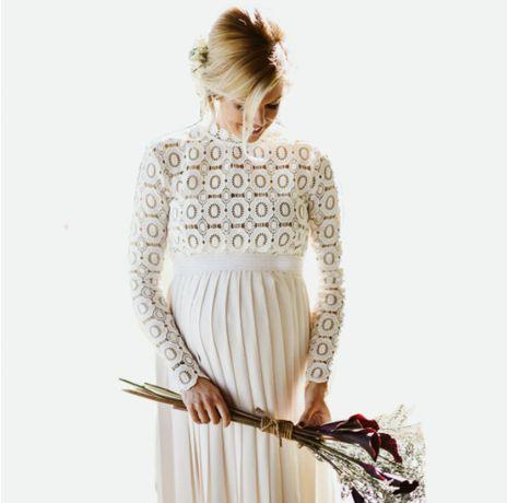Długa sukienka ciążowa ślubna hafty plisy rozmiar M Nowa