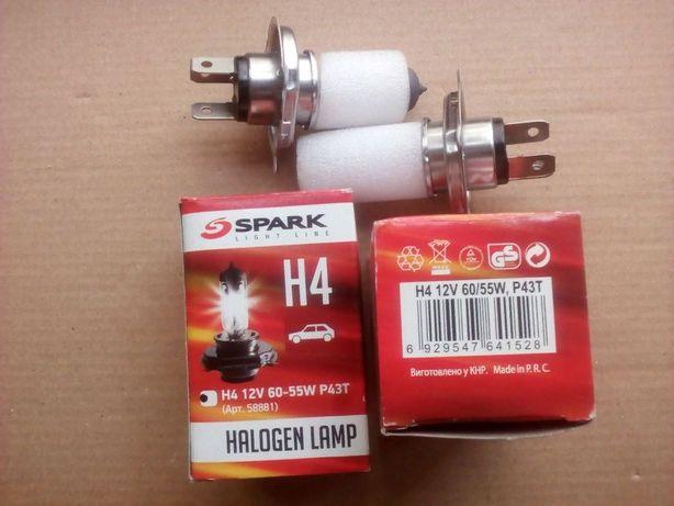 Галогеновые Лампы Н4 12в 60-55W P43T SPARK пара