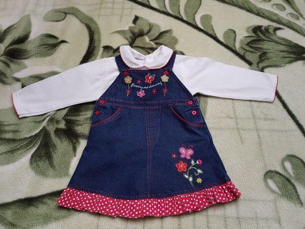 Jeansowa sukienka z bluzką r. 74-80/9-12 miesięcy