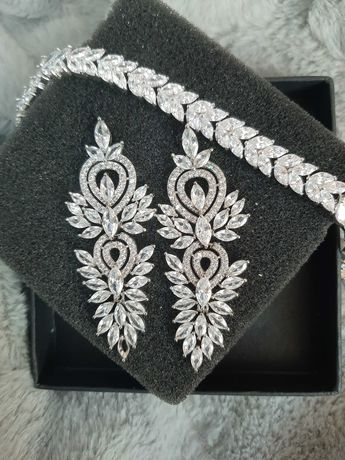 Biżuteria ślubna (bransoletka+kolczyki)