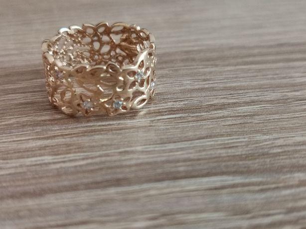Złoty pierścionek 585 kwiat Apartu