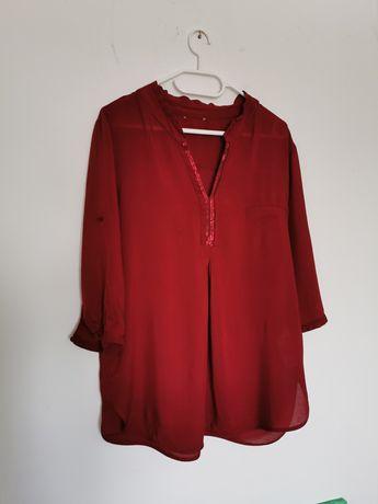 Tunika bluzka bordowa wiskoza Orsay 40