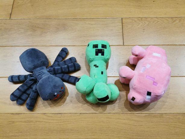 3 maskotki z minecraft creeper pająk i świnka