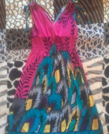 Сарафан платье розовое с голубым
