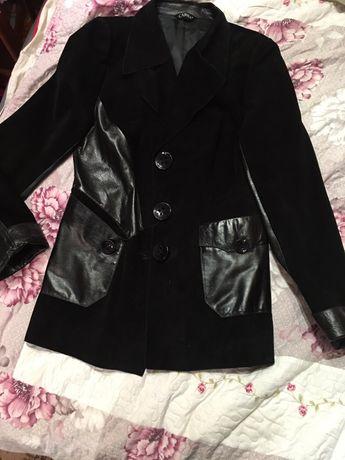 Кожаный замшевый пиджак