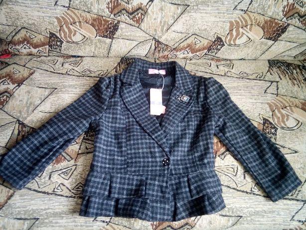 пиджак для девочки теплый клетка