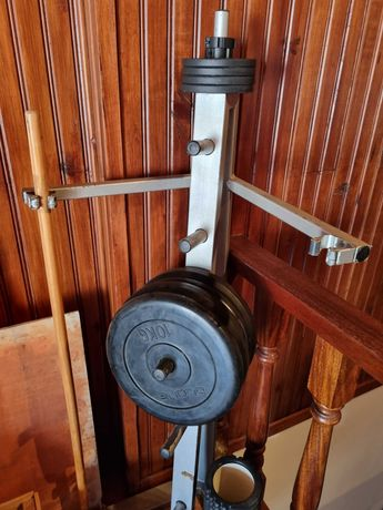 Discos de musculação 10kg/1kg, suporte, cinto e ab wheel