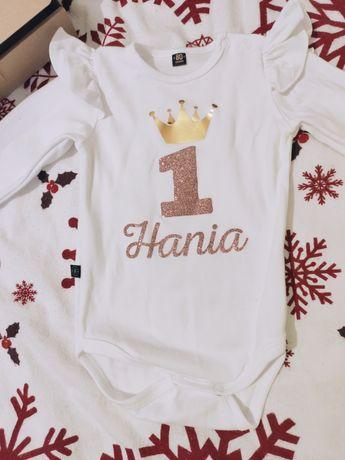 Zestaw, komplet na roczek Hani, Hania, tutu, tiul, spódniczka, body
