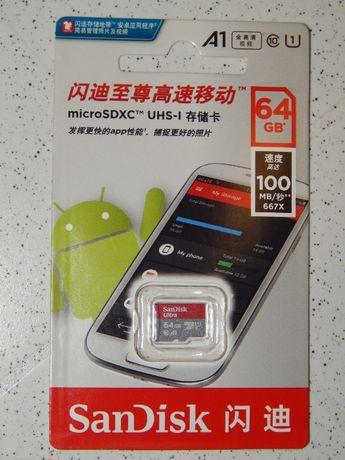 Карта памяти MicroSD SanDisk UHS-I 64 GB Class A1