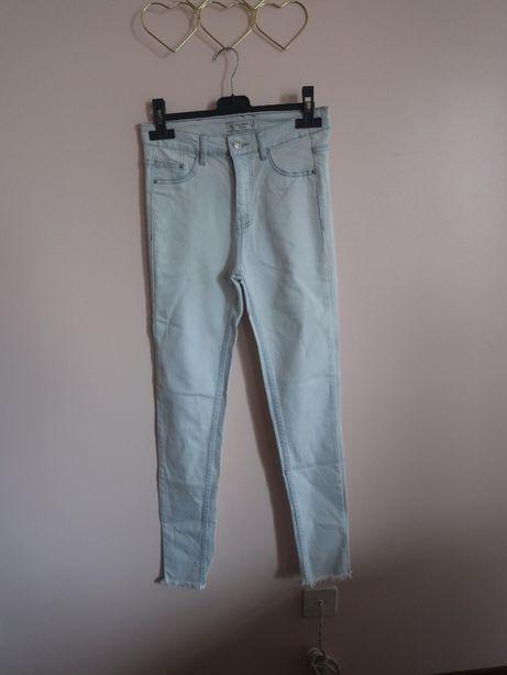 High Waisted Skinny Jeans com rasgões nas bainhas