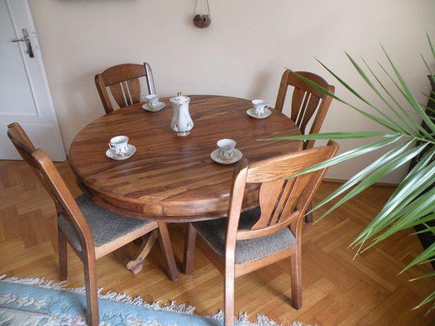 Stół okrągły z litego drewna palisander. Meble kolonialne Poznań