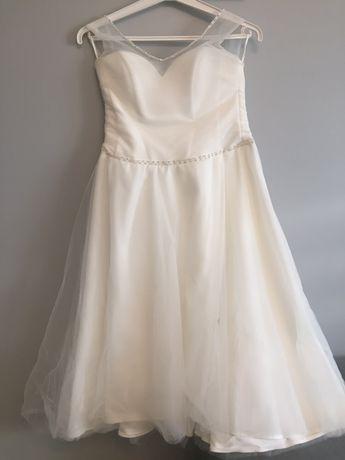 Sukienka biała/śmietankowa - midi suknia ślubna