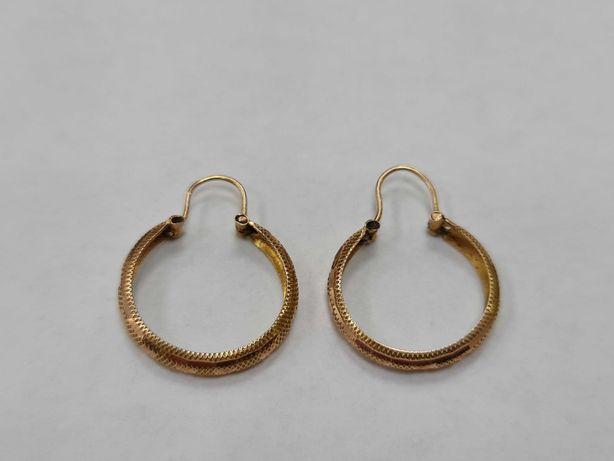 Piękne złote kolczyki damskie/ 585/ 2.17 gram/ Owalne/ Lite złoto