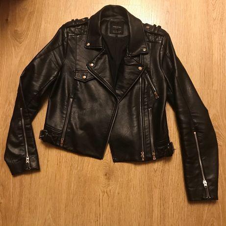 Куртка Zara косуха кожаная кожанка черная