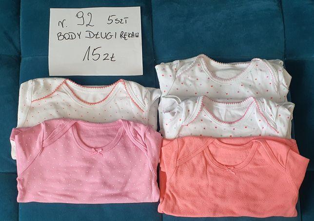 Zestaw body dla dziewczynki rozmiar 92 długi rękaw stan BDB