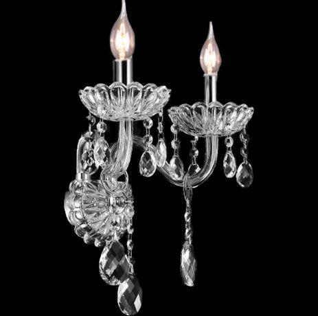 Kinkiet Lampa kryształowa GLAMOUR podwójna szkło NOWA