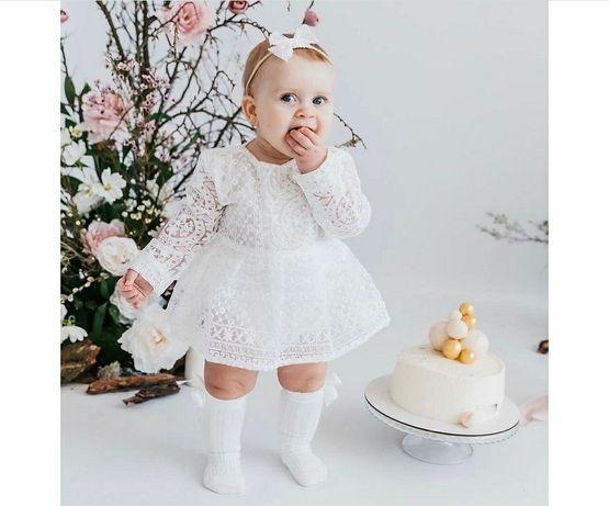 Боди, платье на девочку + подарок белые гольфы