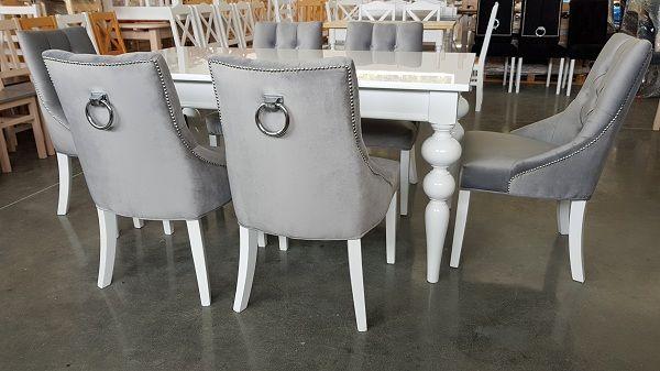Krzesło chesterfield pikowane szare welurowe z kołatką nowe BESTSELLER