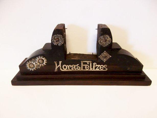 para restauro: antigo supporte de relógio de mesa em pau santo+prata