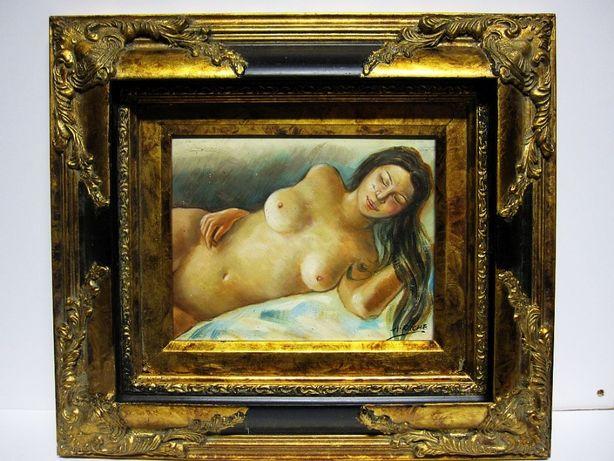 linda pintura erótica em guache sobre tela vintage - assinado+moldura