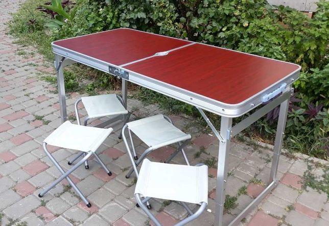 Усиленный стол для пикника рыбалки природы + 4 стула + зонт (4 цвета)