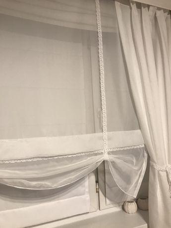 Komplet okienny. Ekran/ roleta, firany/ zasłony. Koronka