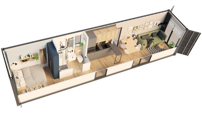 Dom mobilny, kontenerowy, modułowy 40 HC one way. Wykończony
