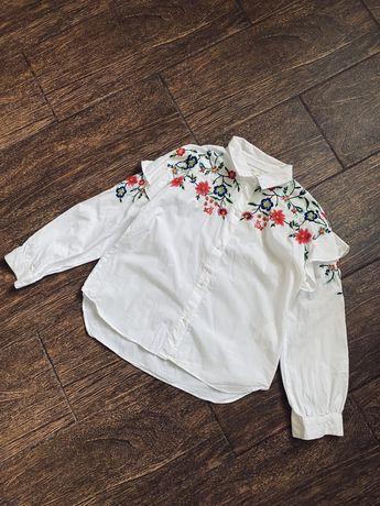 Очень красивая хлопковая белая рубашка блуза с вышивкой Zara 8-9лет