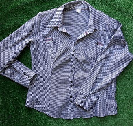 koszulowa bluzka w drobną krateczkę