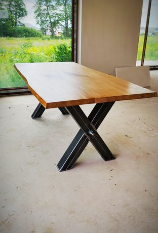 Stół stoły industrial loft lity dąb europejski stolarnia live edge