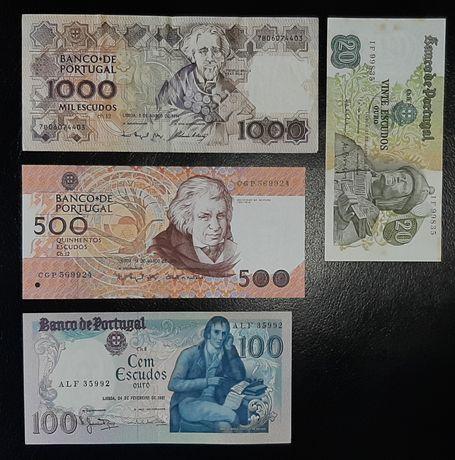 Lote de 4 notas de Escudos: 1000, 500, 100 e 20