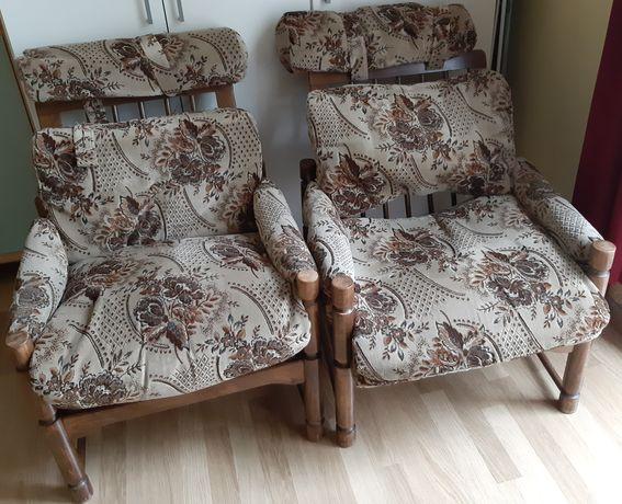 Fotele PRL drewno bukowe 2 szt.