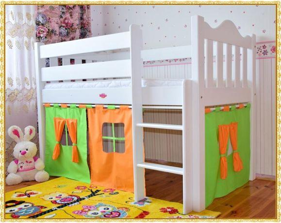 Łóżko zamek dla dzieci- 160X80 DREWNIANE -Piętrowe