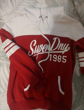 Biało czerwona bluza super dry trening S