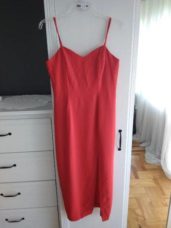 Sukienka wieczorowa czerwona midi z rozcięciem XL