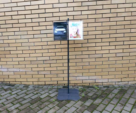 Wolnostojący stojak na ulotki * FORMAT A4 * 2 kieszenie