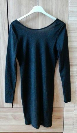 Sukienka mini czarna brokatowa XS 34 H&M
