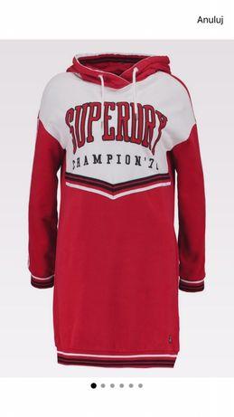 Sukienka dresowa z kapturem SUPERDRY college hooded dress rozmiar L