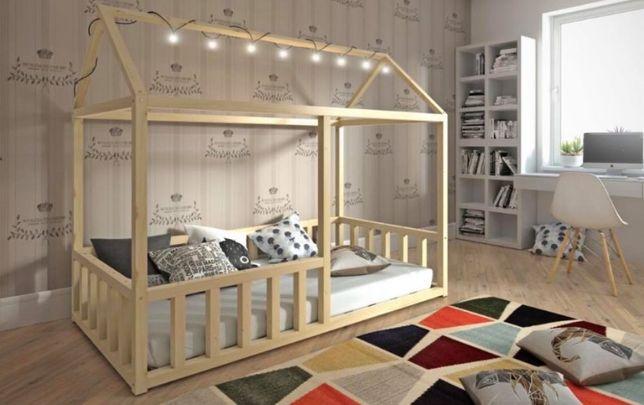 Nowe sosnowe parterowe łóżko Niko domek! Stylowy domek! Barierki
