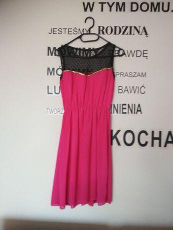 Sukienka różowa rozkloszowana siateczka fuksja jak nowa M-L-XL