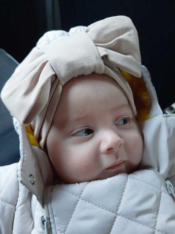 Шапка-тюрбан осень для новорожденной девочки от 6 месяцев
