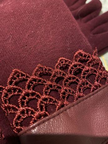 Перчатки женские осень/зима бордовые